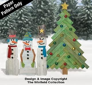 Pallet Wood Snowmen and Pine Tree Pattern Set