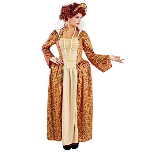 Fun Shack Orangenes Mittelalter Königin Kostüm für Damen - M