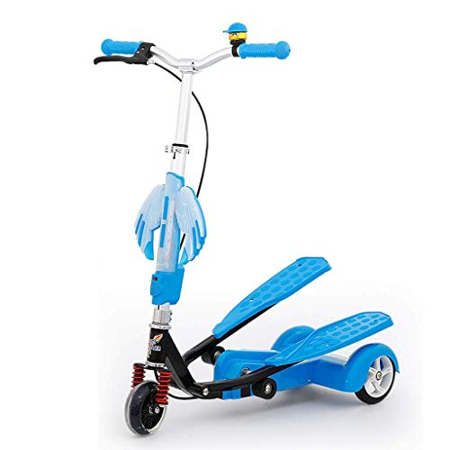 FANGDA Kids Pedaling Stepper Scooter with Music Foot car Tricycle Flash Wheel 3 Height Adjustable Bike Boys and Girls Scooter Ages 4-15,Blue