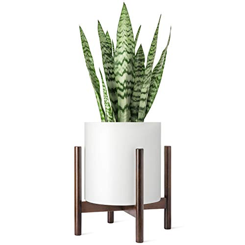 Mkono Plant Stand Mid Century Wood Flower Pot Holder (Plant Pot NOT Included) Modern Potted Stand Indoor Display Rack Rustic Decor, Up to 12 Inch Planter, Dark Brown