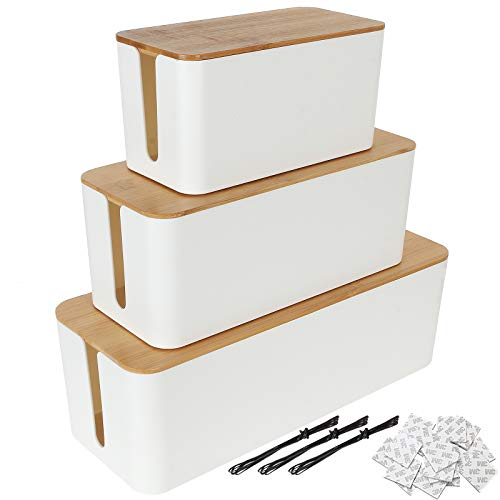 3 Pack Cable Organizer Box Wooden Style Cord Organizer Box with Cover Power Strip Cable Management Box Cord Hider Box, White