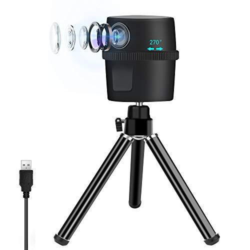 ZasLuke Webcam, 1080P Intelligente Tracking-Kamera mit 270° Bewegungserkennung Verfolgung, Verstellbares Stativ, Eingebautes Mikrofon mit Rauschunterdrückung für Spielen Konferenzen Lehren Arbeiten