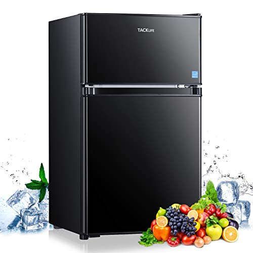 TACKLIFE Compact Refrigerator 3.1 Cu.Ft, 2 Door Mini Fridge with Freezer, Perfect for Office, Dorm, Apartment, RV with Adjustable Temperature, Energy Star Rated, Black-HPBFR310