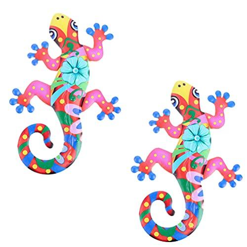 YARNOW Gecko Metal Wall Art Esculturas de Animais Parede Decoração Da Parede De Inspiração 3D Arte Cerca de Parede Decorações de Suspensão Ao Ar Livre para Jardim Varanda Pátio Varanda