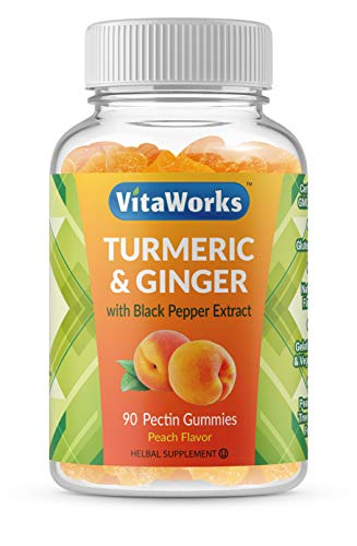 VitaWorks Turmeric Curcumin with Ginger & Black Pepper Extract – Great Tasting Natural Flavor Gummy –Vegetarian GMO-Free Tumeric Supplement – for Joint Pain Relief & Anti Inflammatory – 90 Gummies