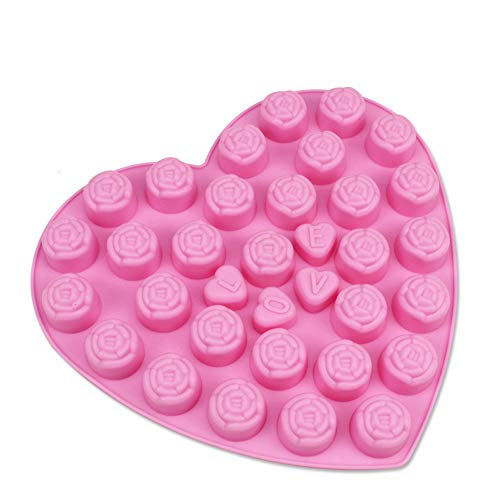 Maliwan Moldes de silicona de rosa con forma de corazón de San Valentín, moldes de chocolate y caramelos, moldes de gelatina, moldes para hornear pasteles para bodas
