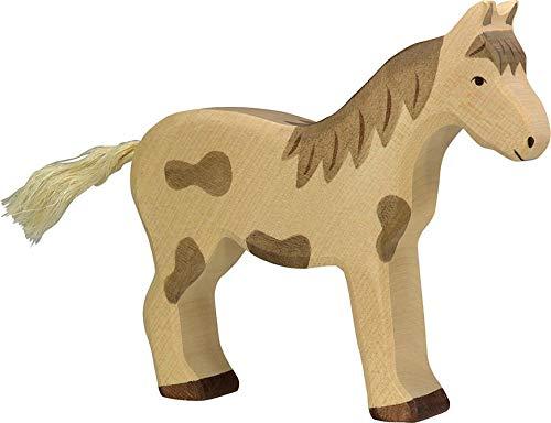 Holztiger Juego de caballos, juguete de madera, caballo y potro 80037 + 80043