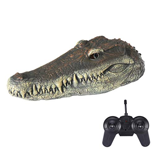 Wotryit V005 RC Boat,2.4G Electric Racing Boat, Floating Crocodile Head Water Decoy - Garden or Pond Art Decor for Goose, Predator, Heron, Duck Control,( 12.6×6.7×4.7in)