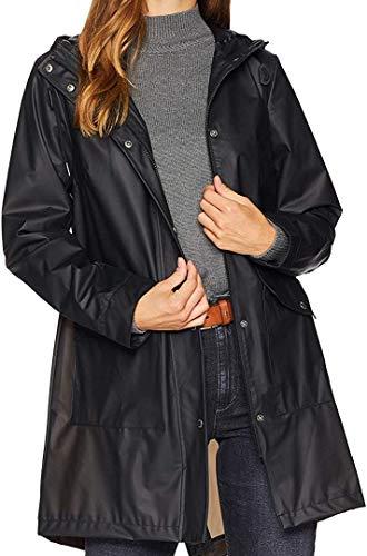 Levi's Women's Hooded Rubberized Faux Leather Anorak Jacket, Translucent black, Medium