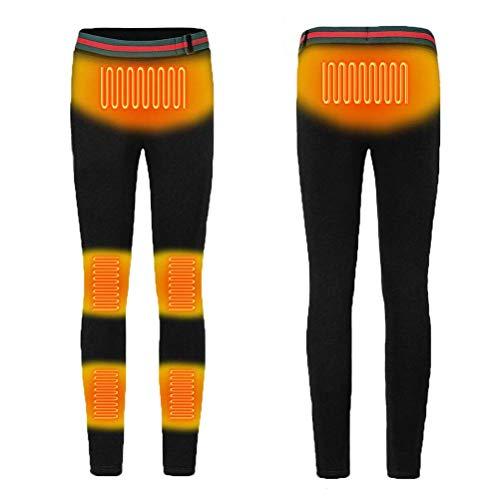 Kvinnor Uppvärmda Byxor, USB uppladdningsbara Compression Leggings Elastic Casual Warm Underställ Athletic Elektriska termisk värme Byxor Yoga Pants,Black,L