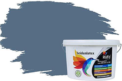 RyFo Colors Seidenlatex Trend Blautöne Rauchblau 12,5l - bunte Innenfarbe, weitere Blau Farbtöne und Größen erhältlich, Deckkraft Klasse 1