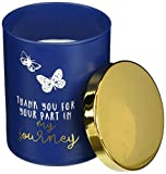 Pavilion Gift Company 28118 7 Oz 100% Soy Wax Glass Jar Candle with Metal Lid-Fresh Cotton Scent Thank You for Your Part in My Journey, Blue