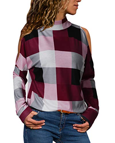 YOINS Women Cold Shoulder Turtle Neck Tops Long Sleeve Geometric Stripe Casual Loose Blouse Tee Pullover Plaid-red L