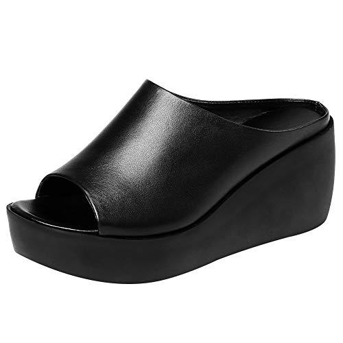 Jamron Mujer Peep Toe Mulas Plataforma Tacón de Cuña Piel Genuina Verano Pantuflas Negro SN02409 EU35