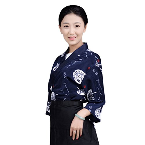 Enerhu Japanese Chef Coat Sushi Chef Jacket Kitchen Uniform Unisex Dark Blue Asian L