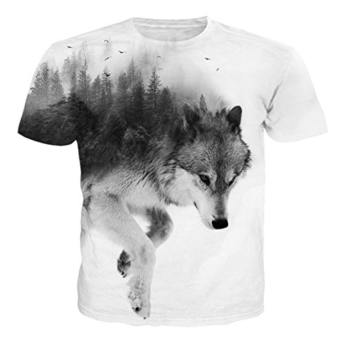NEWISTAR Unisex 3D Animale Stampato Estate Casuale Manica Corta T Shirt Tees M