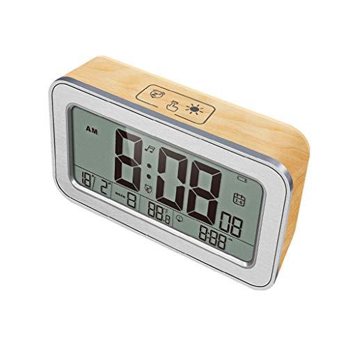 Digital-Wecker-LED Holzimitation Wecker Li-On aufladbar Einfach zu bedienen mit Sleep-Modus, Datum, Celsius/Fahrenheit, 12/24 Stunden, 25 Alarme for Schlafzimmer Office (Bambus)