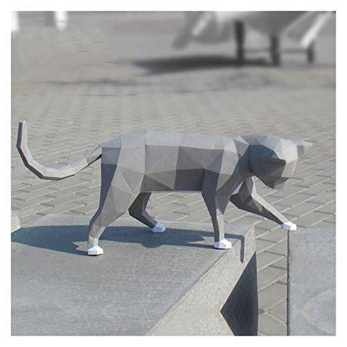 Kawaii la historieta que recorre modelo de papel hecho a mano del gato de Origami Animal 3D bricolaje creativo Craft turística juguete educativo del rompecabezas de la decoración ( Color : Gray )