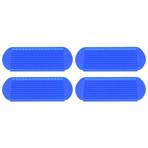 Bandeja para hielo, silicona 1x1cm Molde para cubitos de hielo, reutilizable, fácil de desmoldar, 4 piezas para la cocina casera, azul oscuro, apto para lavavajillas -20 ℃-220 ℃