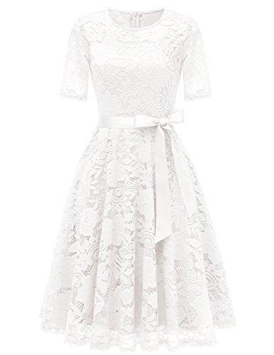 DRESSTELLS Elegant Damen Hochzeit Cocktail Spitzenkleid Rundhalsausschnitt Kurzarm Abendkleid White L