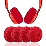 Geekria 2 pares de fundas lavables de tela de punto pequeño, fundas para auriculares/almohadillas protectores/auriculares sanitarios elásticos, se adapta a auriculares de 1.5 a 3.1 pulgadas (rojo)