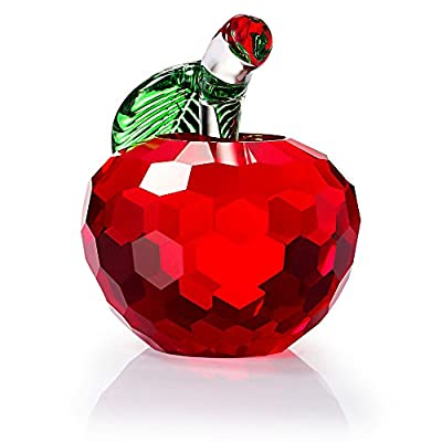 Duosuny Crystal Apple Paperweight, Art Glass Apple Collectible Figurines Best for Lucky Christmas Eve Gifts/ Great Wedding Decor Gifts
