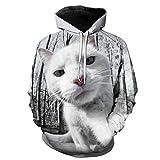 ryyhd Cartoon Cute Cat Print 3D Hoodie Funny Animal Cat Hombres Y Mujeres Sudadera Pullover Sudadera con Capucha De Manga Larga Chaqueta Top-1424_L