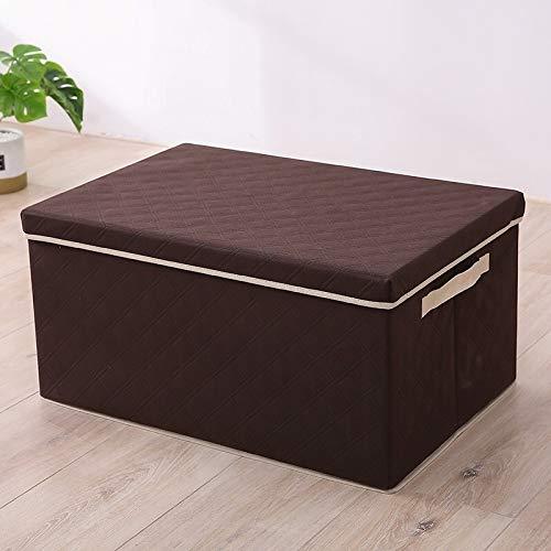 Pienso 4 tamaños Caja de almacenamiento de ropa con tapa Ropa Calcetines Libros de juguetes Soldries Ropa de hogar Caja de almacenamiento Bins / Organizer ( Color : Brown , Size : 35x28x18cm )