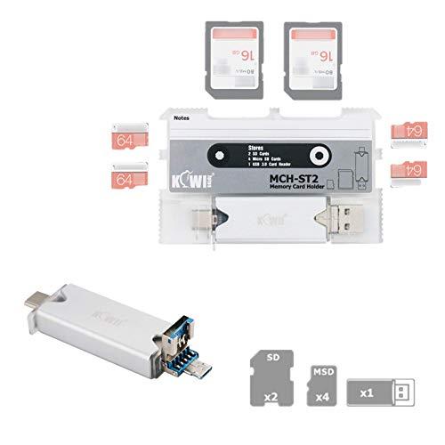 SD SDHC SDXC MSD TF カードメモリーカードケース 収納ケース 2枚 SDカード + 4枚 MSD/TF カード + 1枚 USB 3.0多機能カードリーダー (付属)