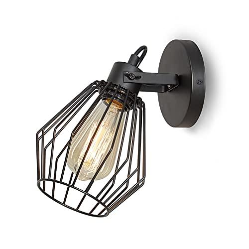 ENCOFT Lampada da Parete Gabbia Girevole 180° Industriale, E27 Vintage Lampada da Soffitto Interna in Metallo, Applique da Parete Girevole per Soggiorno Corridoio, Nero Senza Lampadina