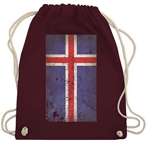 Shirtracer Fußball-Europameisterschaft 2020 - Island Flagge Vintage - Unisize - Bordeauxrot - flagge island - WM110 - Turnbeutel und Stoffbeutel aus Baumwolle