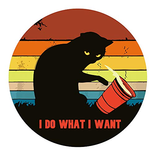 AGMdesign I Do What I Want Mouse Pad, Black cat Gaming Mouse Pad, Desk Accessories, Coworker Gifts, Non-Slip, Waterproof, Stitched Edges, 7.87 x 7.87 x 0.12 Inch
