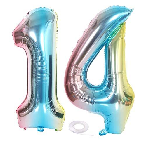 SNOWZAN XL Zahlen Ballon Nummer 14.Luftballon Regenbogen Mädchen Junge Luftballons Zahl 14.Geburtstag Deko Blau Rose Bunt Schillernde 14 Jahre FolienBallon 32 zoll Riesen Helium Happy Birthday Party