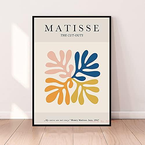 Francia Henri Matisse Líneas abstractas Curvas Plantas Hojas Cortar Papeles Lienzo Pintura Arte de la pared Póster Dormitorio Sala de estar Estudio Oficina Decoración para el hogar Mural