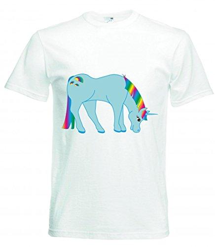 Camiseta de manga corta, diseño de arcoíris, unicornio, cuernos, fantasía, colorido, calabaza, fabelwesen, color azul claro, azul, cian, para hombres, mujeres, niños, 104 – 5 XL Blanco Para Hombre Talla : X-Large