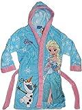 Disney Frozen Die Eiskönigin Mädchen Bademantel mit Kapuze (128-134, Hellblau)