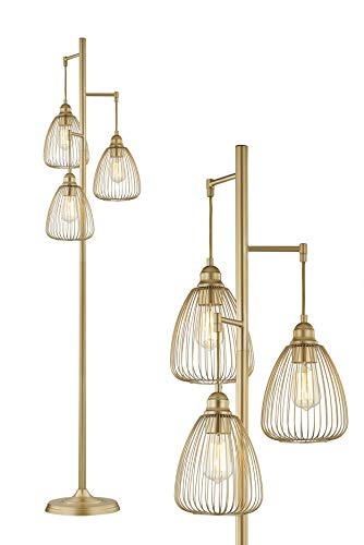 LeeZM Gold Industrial Floor Lamp for Living Room Modern Floor Lighting Rustic Tall Stand Up Lamp Vintage Farmhouse Tree Floor Lamps for Bedrooms, Office Torchiere Standing Lamp 3 Light Bulbs Included