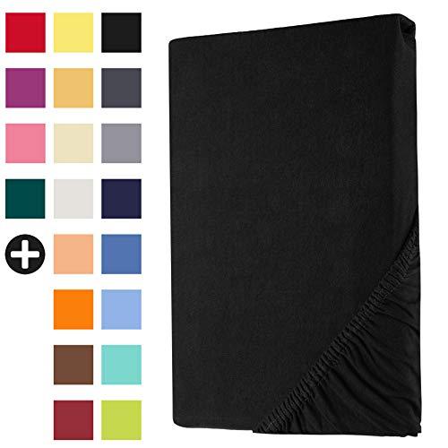 Heim24h Spannbettlaken Jersey Spannbetttuch Bettlaken mit Einer Steghöhe von 18 bis 30 cm 100% Baumwolle Hochwertig elastisch atmungsaktiv und weich Schwarz 90x200-100x200 cm