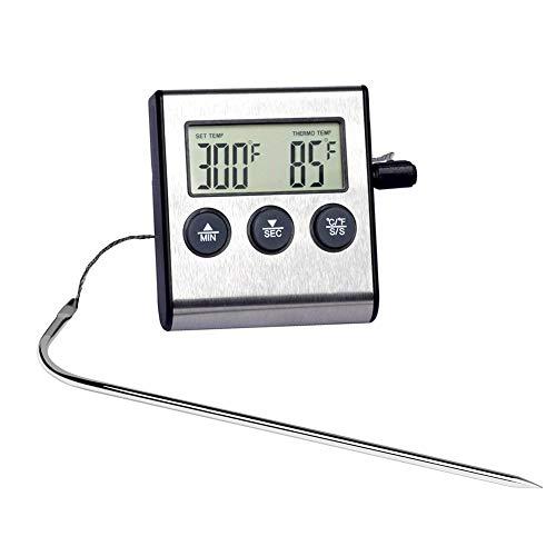VDYXEW Thermomètre de four numérique avec sonde alimentaire en acier inoxydable pour cuisson de la viande barbecue avec minuterie