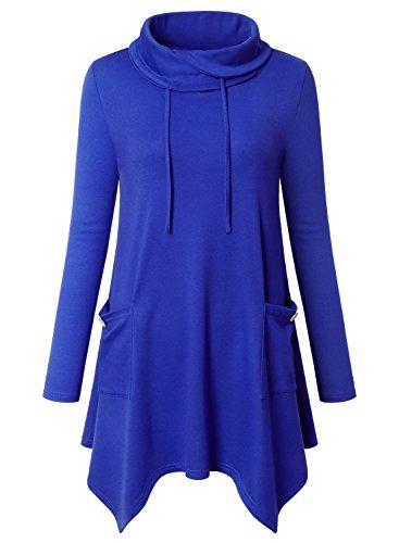 Amrto Damen Bluse Turtleneck Asymmetrische Saum Langarm Tops Lange Hemd Pullover Tunika mit Taschen, Blau XXXL