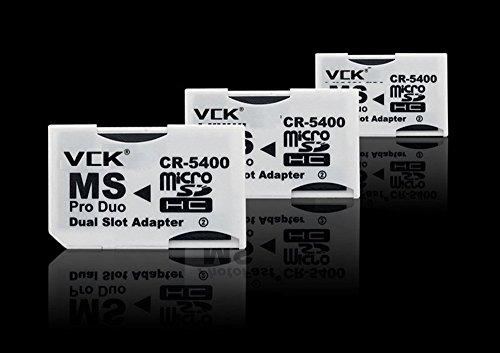 3 x Micro SD TF a Memory Stick MS Pro Duo para PSP 1000/2000/3000 tarjeta Dual 2 Ranuras Adaptador Convertidor CR-5400 CR5400