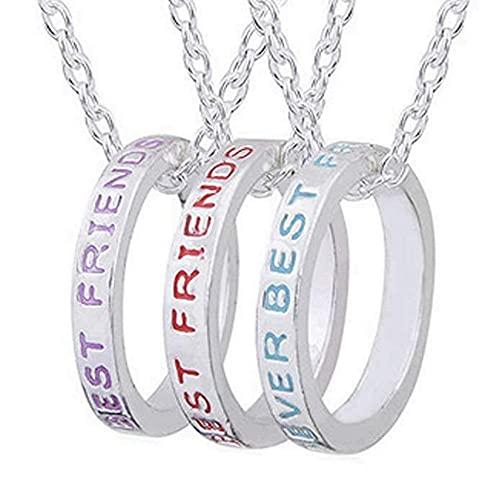 LUIDILUC Collar de 3 anillos de la amistad Best Friends Forever Mejores amigos para siempre