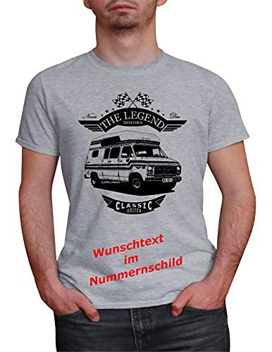 Herren T-Shirt Chevy Camper G20 Van Legend mit Wunschtext (Grau, S)