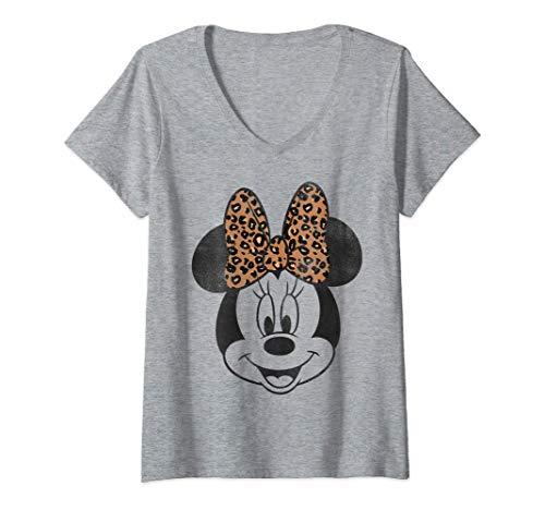 Femme Disney Minnie Mouse Leopard Print Bow Portrait T-Shirt avec Col en V