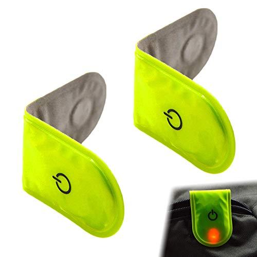 Magnet Reflektor Clips, 2 Stück Fahrrad Reflexions Clip, LED-Reflexions Clip, Reflektoren für Kleidung, Lichtreflexion Clip mit Eingebauter Batterie, Reflektorclip mit Hohem Reflexionsvermögen