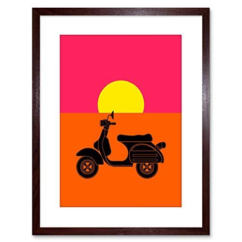 Wee Blue Coo Painting Drawing Moped Scooter Motorbike Sun Framed Print F97X4573 Decoración de la Pared del Cartel Enmarcado impresión 9x7 Pulgadas