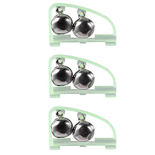 Crazy-Store 3 Stück Clip-on Twin Angelglocken mit gebogenförmigem leuchtendem Rahmen, tragbarer Spinnrute Alarm für Meer, Flussangeln, Outdoor-Angelzubehör mit Anzeige