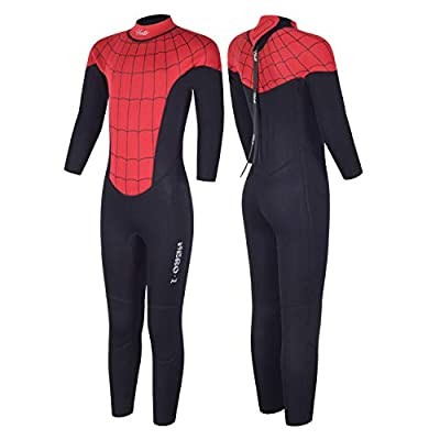 Hevto Wetsuits Kids Hero and Youth 3mm Neoprene Full Suits Long Sleeve Surfing Swimming Diving Swimsuit for Water Sports (Hero-Kids Red, 10)
