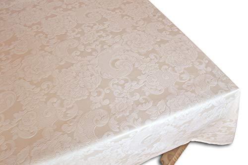 Centesimo Web Shop Tovaglia Fiandra in 10 Misure 2 Colori Classica Soggiorno Sala Jacquard Tinto Filo Italia - Avorio - 150x350 cm + 16 tovaglioli