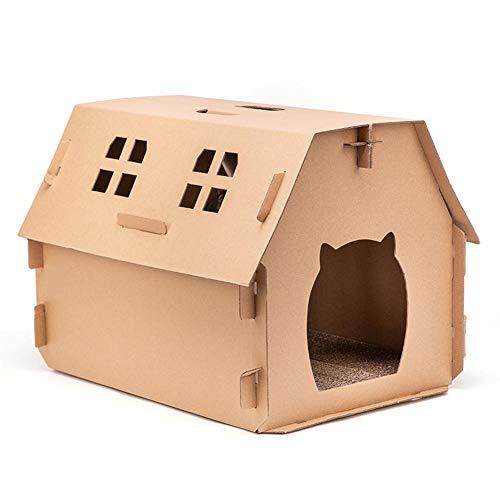 wangza Katzenhaus Pappe Klein Katzenkratzbaum Wellpappe Katzenbett Beweglich DIY Faltbar Haus für Kätzchen, Druck- und Kratzfestigkeit